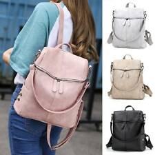 Womens Solid Color Zipper Backpack Travel Casual Shoulder Bags Satchel Rucksack
