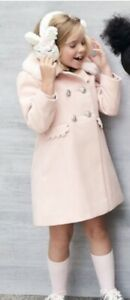 Monsoon Scallop trim double-breasted coat pink 11-12 Yrs RRP £63.00