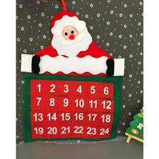 Christmas Advent Calendar Countdown Santa Claus Fabric Xmas Decor Pockets DP