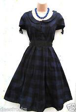 Tamaño 16 Estilo Vintage Años 50 Rockabilly Jive cheque Tartán Vestido Azul # Us 12 EU 44