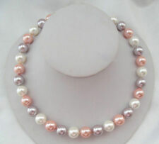 Handmade Genuine 10MM Multicolor South Sea shell pearl round Necklace 18''