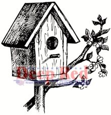 Deep Red Stamps Rustic Birdhouse Rubber Cling Stamp