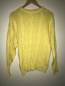 PRINGLE Made in SCOTLAND Pure Cotton Jumper in Yellow - Size 36 (92) - Vintage