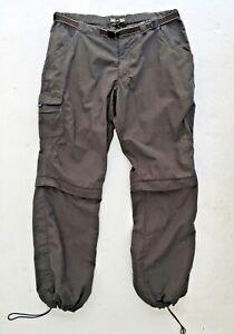 REI Women Pants Convertible Shorts Gray Nylon Pockets Web Belt UPF 30+ 12