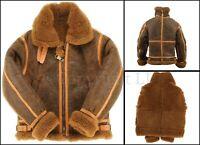RAF Brown WW2 Bomber Shearling Fur Coat Sheep Leather Flying Aviator Men Jacket