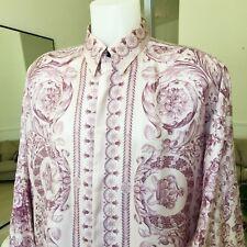 GIANNI VERSACE lavender silk shirt Barocco print size Italian 52 from 1995