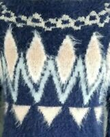 LAUREN CONRAD Size XS Fuzzy Blue Pink Fair Isle Crew Neck Sweater New