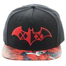 DC COMICS BATMAN: HARLEY QUINN SYMBOL/ ROSES SNAPBACK CAP WITH PRINTED VISOR