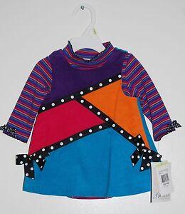 NWT Bonnie Baby Infant Girls Blue Colorblock Corduroy Slvls Dress & Tee Set 3-6M