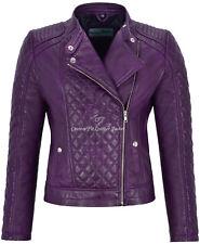 Woman's Leather Jacket Purple Biker Style Fitted Diamond Shape Front Panel