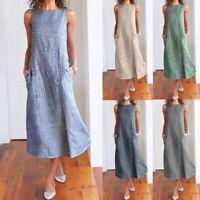 Womens Striped Cotton Linen Maxi Dress Sleeveless Summer Casual Baggy Long Dress