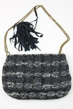 Lanvin Gray Blue Sparkle Boucle Tweed Chain Strap Flap Clutch Bag Purse Italy