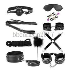 10PC Bondage Leather Handcuff Anklecuff Collor Whip EyeMask BDSM Restraint Toys