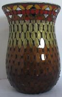 Yankee Candle Large Jar Holder Stained Glass MOSAIC Browns Oranges #1522609 NEW