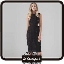 MOSSMAN Top Of The Hour Midi Black Dress RRP $179.95 Size 8 (C 1)