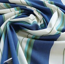 DESIGNER BLUE WHITE LIME GREEN WOVEN STRIPE WIDE NAUTICAL TICKING! BTY