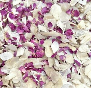 Pink Rose Petal + Ivory Dried Biodegradable Wedding Confetti. Real Flower Petals