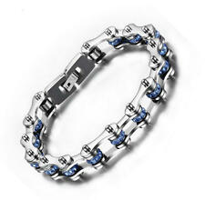 Men Stainless Steel Bicycle Chain Bracelet Birthday Punk Rock Rhinestone Bangle