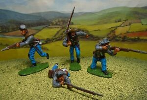 Superbly painted CTS 1/32 scale ACW Confederate Infantry x4 (grey) (Set 1)