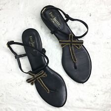 Eric Javits Leather and Chain Sandals Size 8 Black Gold
