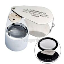 LED UV Jewellers Pocket Lens 40X 25mm Metal Loupe Magnifying Eye Glass Magnifier