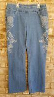 Westbound Womens SZ 12 Blue Jeans Comfort Waist Light Wash Floral Sides Straight