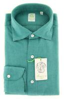 New $375 Finamore Napoli Blue Herringbone Shirt - Extra Slim - (2018030215)