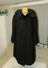 Vintage Persian Lamb Coat with  Mink Collar Black Small Curly Genuine Fur
