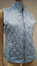 BURBERRY LONDON Women's Pale Blue Quilted Funnel Neck Sleeveless Gilet Top S/M
