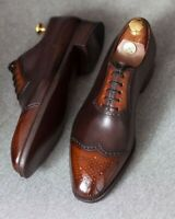 New Men's Handmade Tan Brown Lace Up Wing Tip Brogue leather, Men's shoes