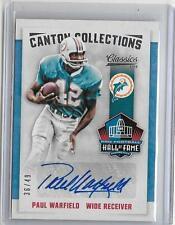 PAUL WARFIELD 2016 PANINI CLASSICS HALL OF FAME AUTOGRAPH AUTO #36/49 -DOLPHINS!
