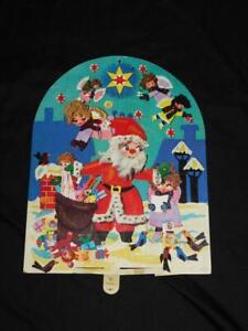 Vtg 1960s Gemo Denmark Christmas Advent Calendar Moves Santa Doll Angel Die Cut