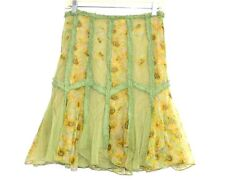 Per Una - S - Sunflower Floral Print Mesh Inset Patchwork A-Line Skirt
