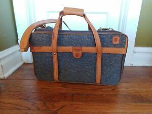 Vintage HARTMANN Tweed & Leather Travel Luggage Overnight Bag