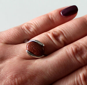 New Fashion Ring Stainless Steel Friendship Ring Goldstone Red Brown 16-20 #050