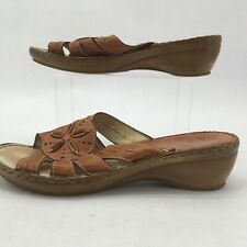 Spring Step Womens Slides Sandals Wedge Open Toe Leather Brown Slip On EU 40