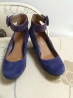 Clarks softwear two tone blue suede and leather wedge with ankle strap UK 3