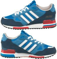 NEW Adidas Originals Mens Size 7-12 UK ZX 750 Trainers Blue Red Navy White Shoes