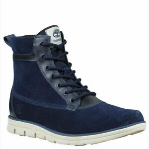 Timberland A1K6B Bradstreet Mixed Media Mens Suede High Sneakers Navy 9.5 us