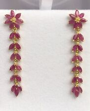 14k Solid Yellow Gold Flower Dangle Stud Earrings, Natural Ruby 6CT. 5.14Grams