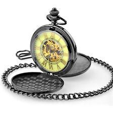 Schwarz Doppelsavonnette Mechanische Uhr Nachtleuchtende Herren Taschenuhr