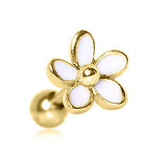 """White Enamel Gold Plated Daisy Cartilage Tragus 16g 1/4"""" 6mm Earring"""