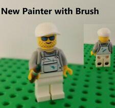 Lego Painter Minifigure Stubble White Overalls with Paint & Brush Blue Spots