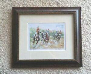 Pamela Hopkins-Australian Artist 'Polo Players' Framed Under Glass Print-Signed