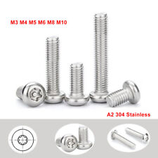 M3/4/5/6/8/10 Button Head Torx + Pin Security Machine Screw Bolts - A2 Stainless
