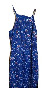 BLUE FLORAL MAXI DRESS WITH CUTS ON SIDES DRESS M 10 12