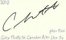 Cory Monteith Deceased Actor Glee TV Show Autographed Signed Index Card JSA COA
