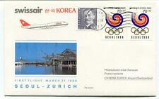 FFC 1986 Swissair First Flight Soul Zurich Korea Olimpiadi Seoul 1988