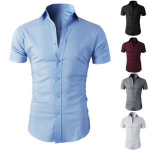 Mens Short Sleeve Shirts Casual Formal Business Work Slim Fit Shirt Top S M L XL