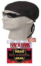 BLACK LINED DO DOO RAG FITTED Tied BANDANA Biker Hav-A-Danna Skull Head Wrap Cap